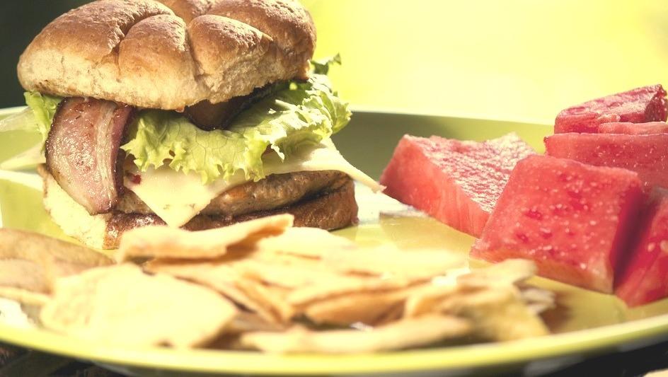 Turkey burger, watermelon, pita chips (by Matt Feltner)