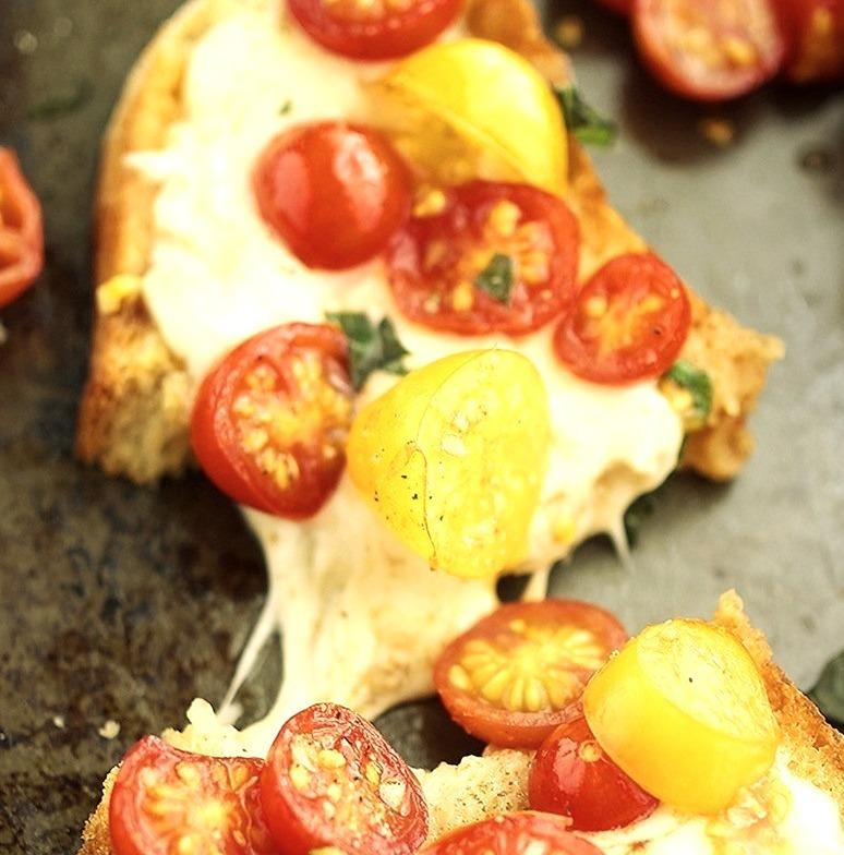 Warm tomato & mozzarella bruschetta
