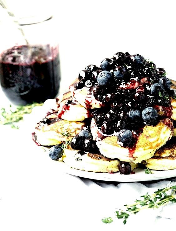 Recipe: Lemon Ricotta Thyme Pancakes with Blackberry Sauce