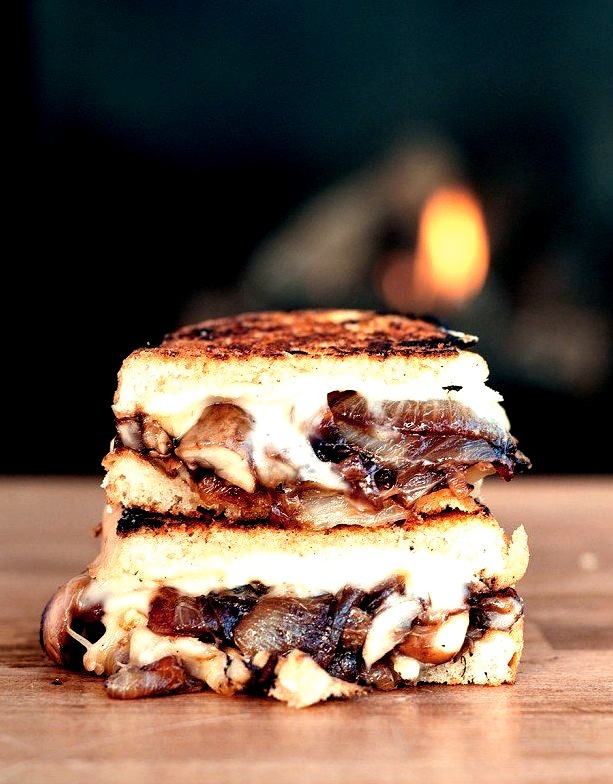 Caramelized Onion and Mushroom Brie Grilled Cheese
