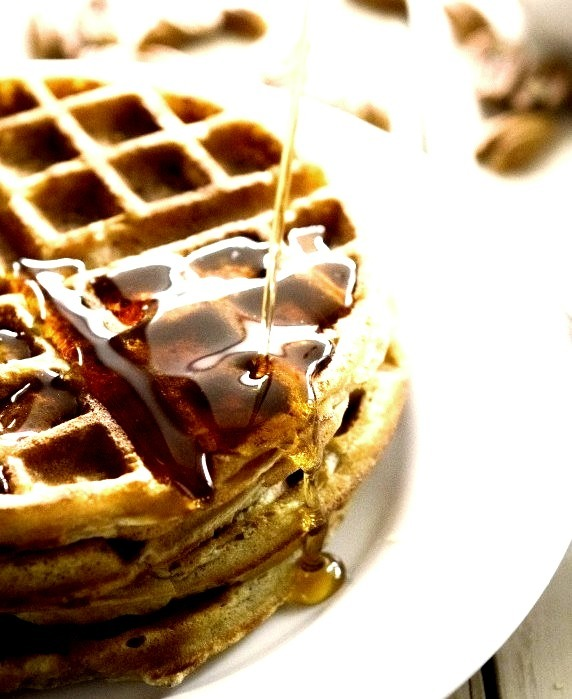Chasing Delicious Pecan Oat Belgian Waffles