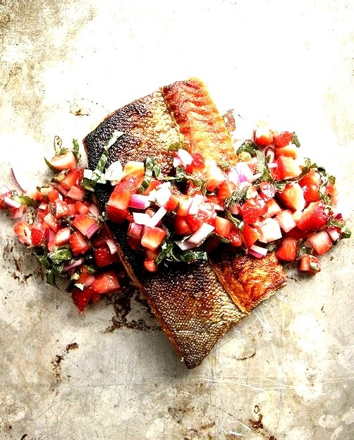 Strawberry and salmon, a match made in heaven.Crispy Salmon with Strawberry Basil Salsa on Heather Christo