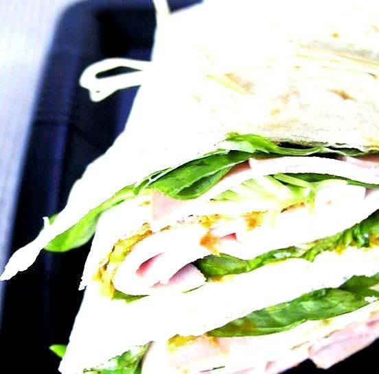 Pesto, Ham, Arugula Sandwich Wrap